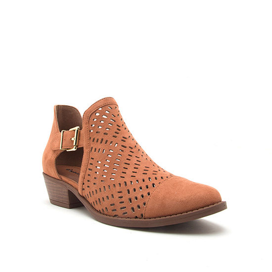 Qupid Womens Sochi 181 Booties Stacked Heel