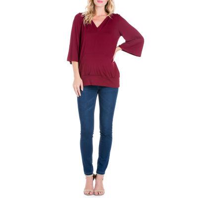 24/7 3/4 Sleeve Front Pocket Hoodie - Maternity