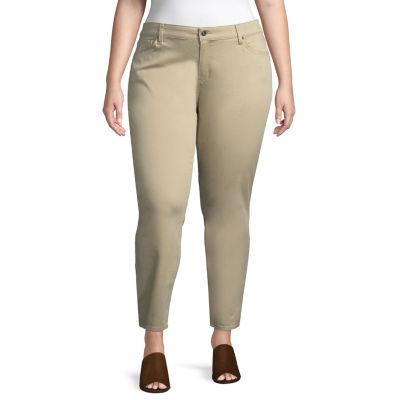 Arizona Sateen Womens Low Rise Slim Pant-Juniors Plus