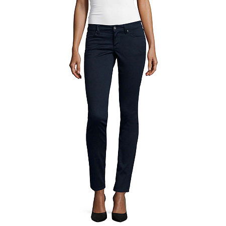 Arizona-Juniors Sateen Womens Low Rise Skinny Flat Front Pant, 0 , Blue