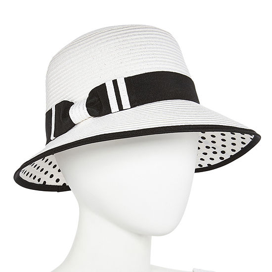 Scala Polka Dot Brim Cloche Hat
