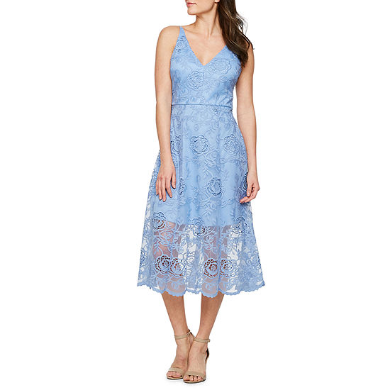 Premier Amour Sleeveless Embroidered Fit & Flare Dress
