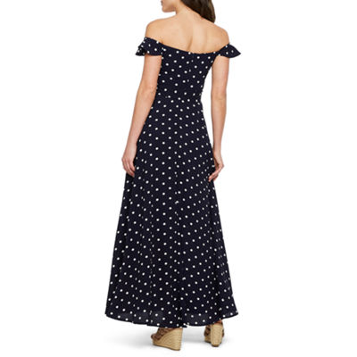 Premier Amour Off The Shoulder Polka Dots Maxi Dress
