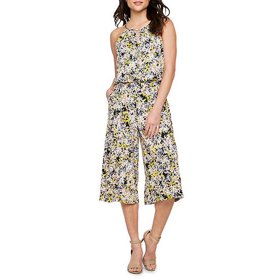 London Style Sleeveless Abstract Floral Jumpsuit
