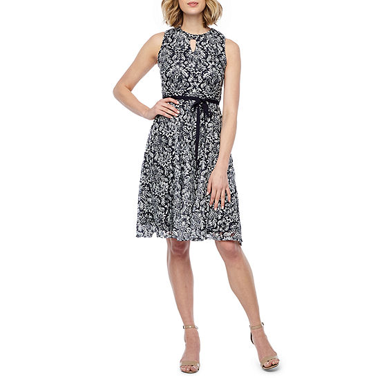 Danny Nicole Sleeveless Floral Lace Fit Flare Dress