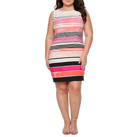 Alyx Sleeveless Striped Shift Dress-Plus
