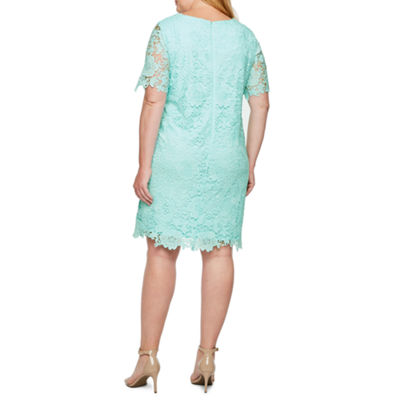 Studio 1 Short Sleeve Lace Shift Dress-Plus