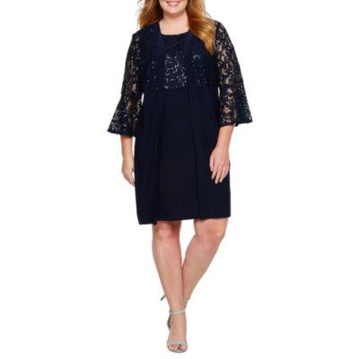 Scarlett 3/4 Bell Sleeve Jacket Dress-Plus