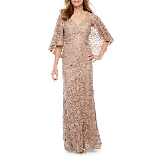 Blu Sage Sleeveless Sequin Lace Evening Gown