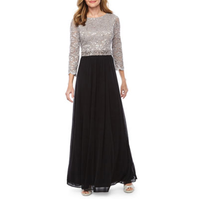 Onyx Nites 3/4 Sleeve Lace Beaded Evening Gown