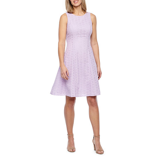 Liz Claiborne Sleeveless Eyelet Fit & Flare Dress