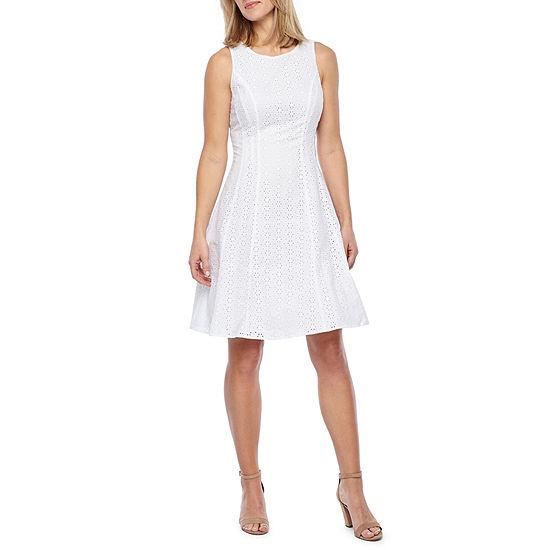 Liz Claiborne Sleeveless Eyelet Fit & Flare Dress