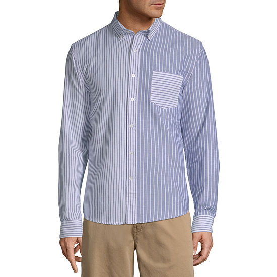 St. John's Bay No Tuck Mens Long Sleeve Striped Button-Front Shirt