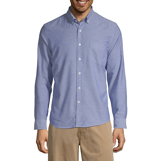 St Johns Bay No Tuck Mens Long Sleeve Button Front Shirt