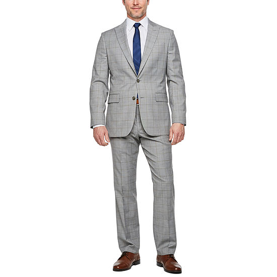 Stafford Super Suit Warm Gray Windowpane Classic Suit Separates