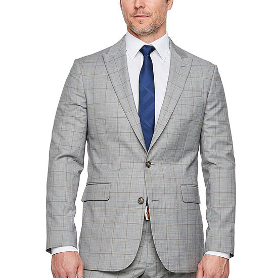 Stafford Windowpane Super Suit Slim Fit Stretch Suit Jacket