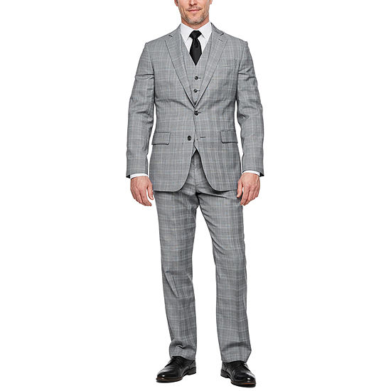 Stafford Gray Plaid Super Suit Classic Fit Suit Separates