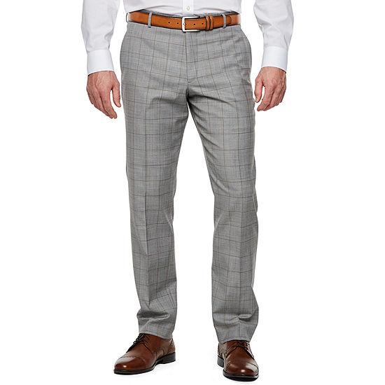 Stafford Windowpane Super Suit Slim Fit Stretch Suit Pants