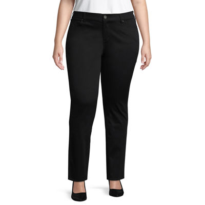 Arizona Sateen Womens Low Rise Slim Pant-Juniors Plus