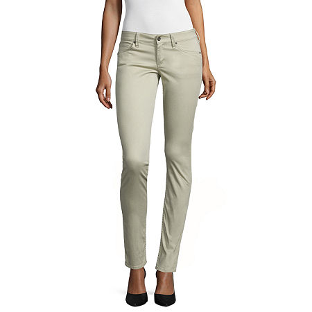 Arizona Sateen Womens Low Rise Slim Pant-Juniors, 3 , Brown