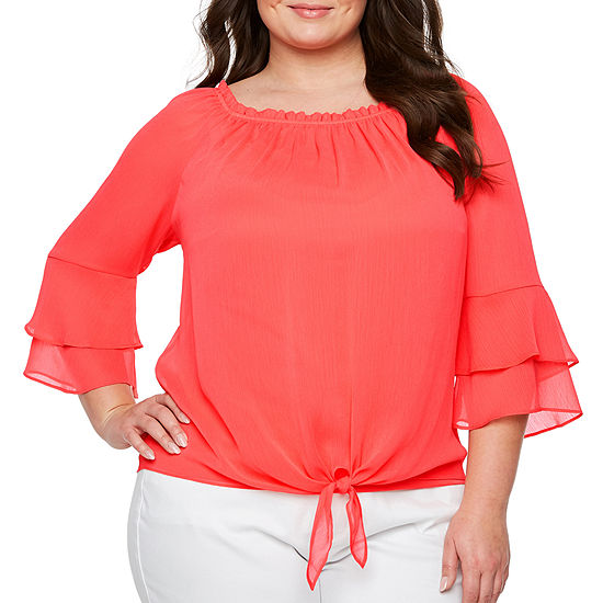 Alyx 3/4 Bell Sleeve Tie Front Blouse - Plus