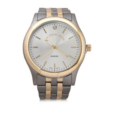Us Polo Assn. Uspolo Mens Two Tone Bracelet Watch-Usc80613jc