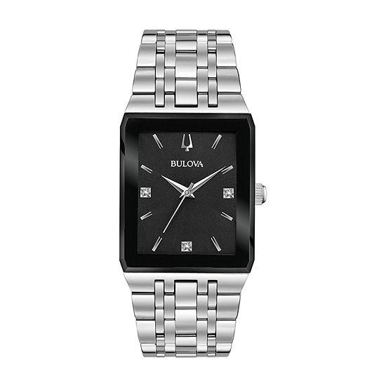 Bulova Quadra Mens Silver Tone Bracelet Watch-96d145