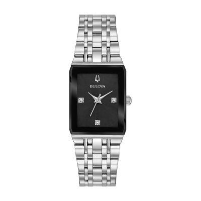 Bulova Quadra Womens Silver Tone Stainless Steel Bracelet Watch-96p202