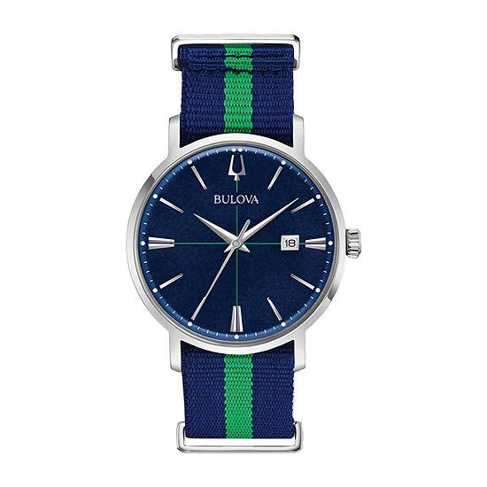 Bulova Aerojet Mens Blue Strap Watch-96b316