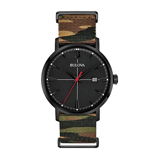 Bulova Aerojet Mens Green Strap Watch-98b336