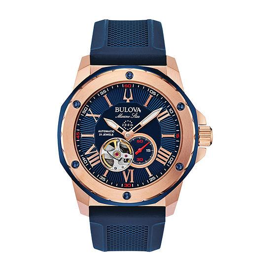Bulova Marine Star Mens Automatic Blue Strap Watch-98a227
