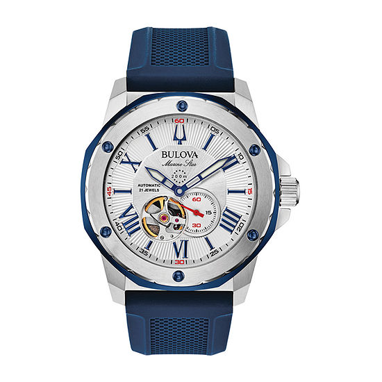 Bulova Marine Star Mens Automatic Blue Strap Watch-98a225