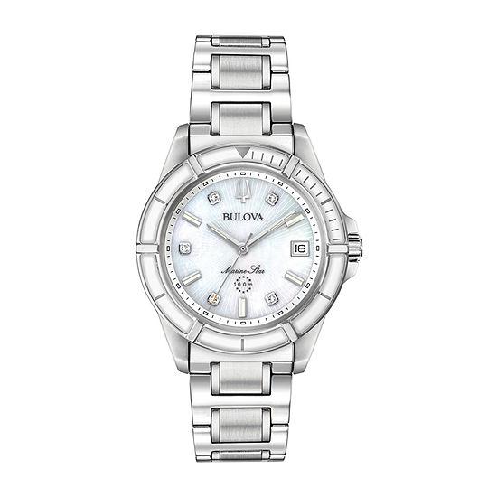 Bulova Womens Silver Tone Bracelet Watch-96p201