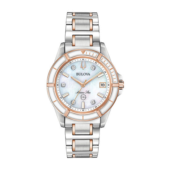 Bulova Marine Star Womens Two Tone Stainless Steel Bracelet Watch-98p187