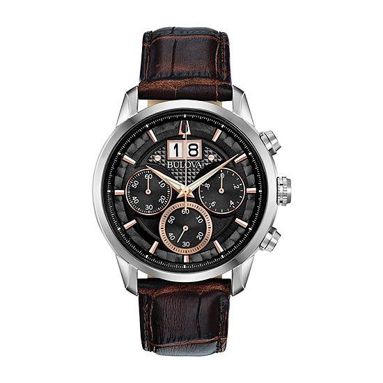 Bulova Mens Brown Strap Watch-96b311