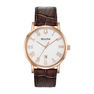 Bulova Mens Brown Strap Watch-97b184