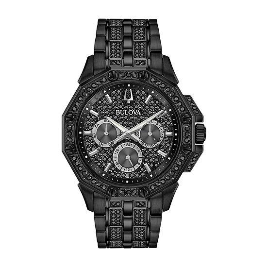 Bulova Octava Mens Black Stainless Steel Bracelet Watch - 98c134