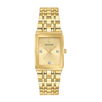Bulova Quadra Womens Gold Tone Stainless Steel Bracelet Watch-97p140