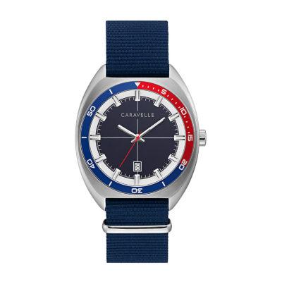 Caravelle Mens Blue Strap Watch-43b167