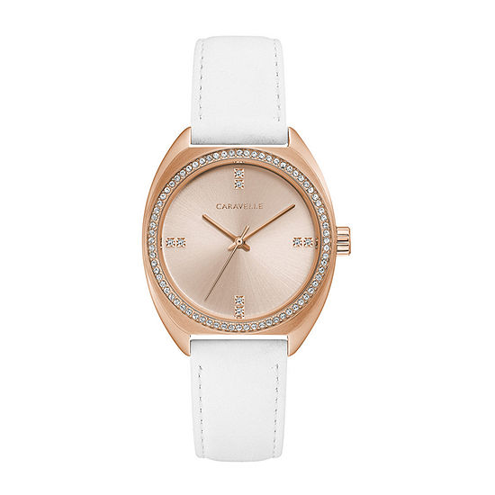Caravelle Designed By Bulova Womens White Leather Strap Watch-44l251