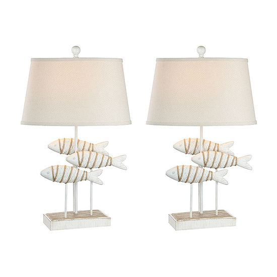 Seahaven Fish Coastal 2 Pc Lamp Set