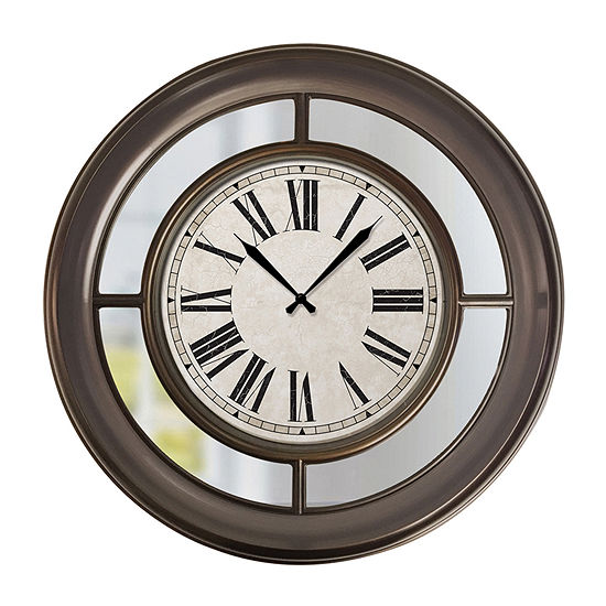 Westclox 22 Round Wall Clock With Mirror Traditional Finish