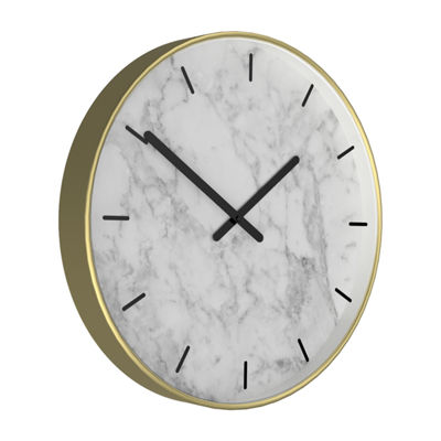 "Westclox 13.75"" Round Gold Tone Case with White Marble Dial Wall Clock"