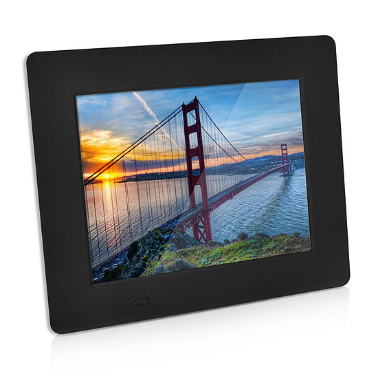 """SXE 8"""" Black Digital Picture Frame with Alarm Clock and Calender"""