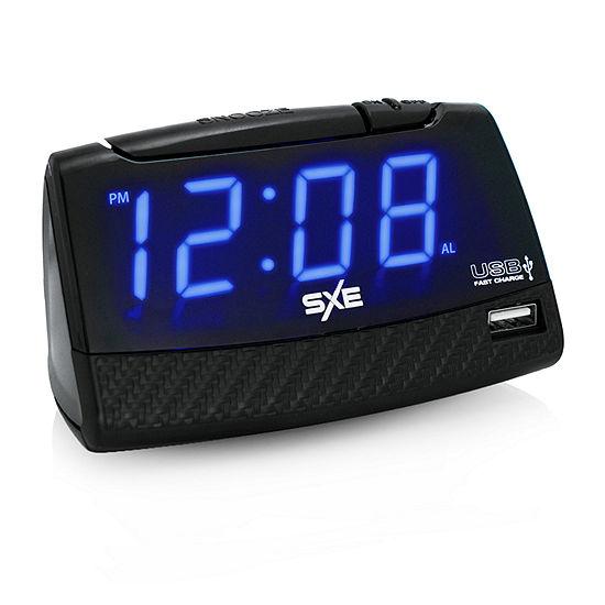 Sxe 1 Digital Blue Led Alarm Clock With Fast 2amp Usb Charging Port