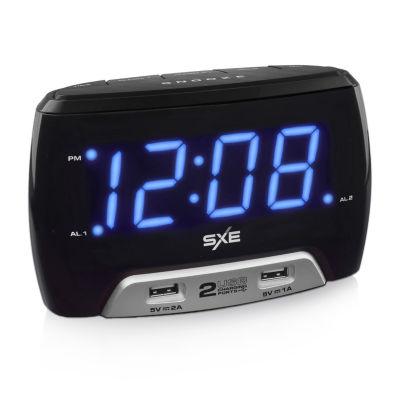 "SXE 1.4"" Blue LED Alarm Clock with 2 USB Charging Ports"