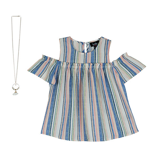 by&by Big Girls Round Neck Short Sleeve Blouse