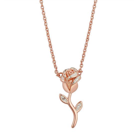 Sparkle Allure Diamond Accent 16 Inch Link Flower Pendant Necklace