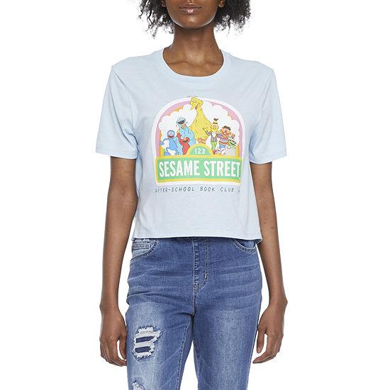 Juniors Womens Crew Neck Short Sleeve Sesame Street Graphic T-Shirt