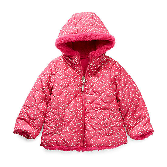 Cheetah Toddler Girls Hooded Reversible Heavyweight Quilted Jacket
